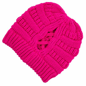 C.C Beanie Neon Hot Pink Ribbed Knit Beanie Featuring Criss-Cross Ponytail Detail