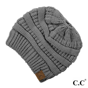 C.C Beanie Light Melange Grey Solid Ribbed Messy Bun Beanie
