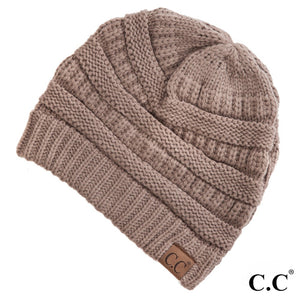 C.C Beanie Taupe Solid Color Ribbed Beanie