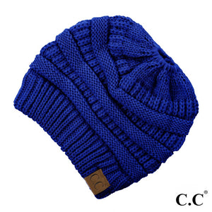C.C Beanie Royal Blue Solid Color Ribbed Messy Bun Beanie