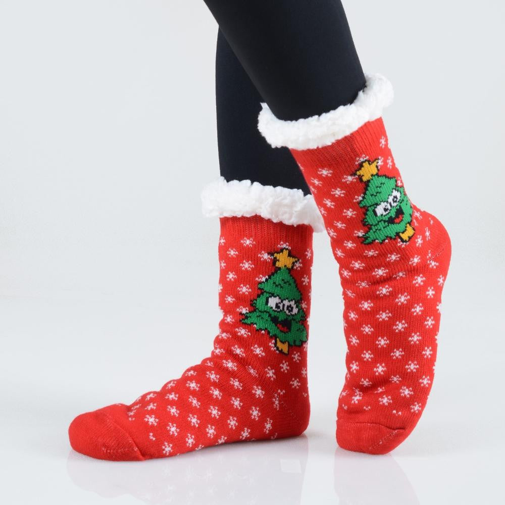 Christmas Trees Sherpa Socks in Red