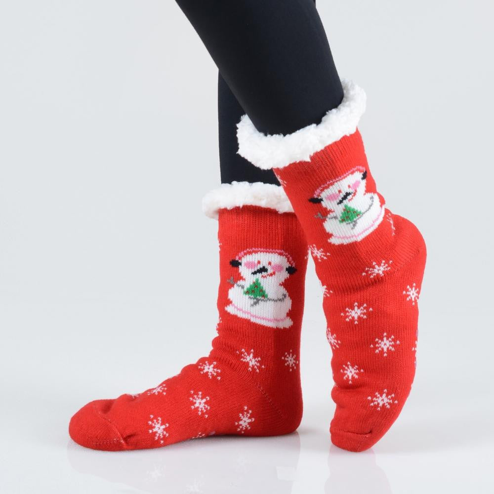 Snowman Christmas Sherpa Socks in Red