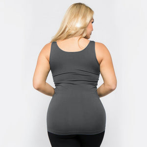 Women's Plus Size Solid Color Seamless Tank Top - Charcoal