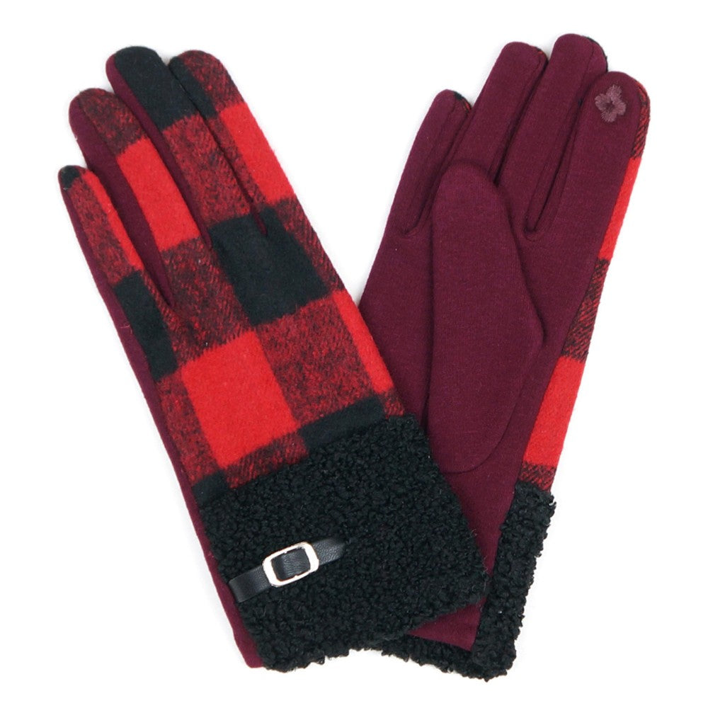 Red And Black Fleece Buffalo Check Smart Touch Gloves