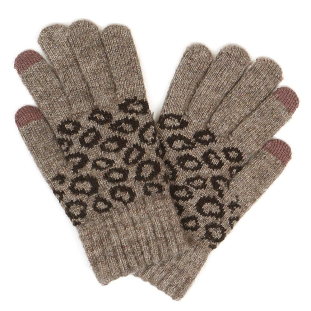 Brown Animal Print Knit Smart Touch Gloves