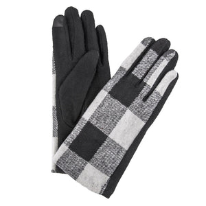 Black And White Buffalo Check Smart Touch Gloves