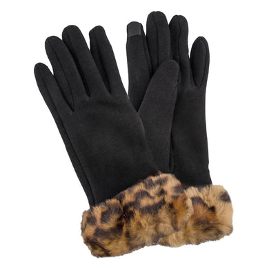 Faux Fur Lined Cotton Knit Smart Touch Gloves Featuring Animal Print Faux Fur Cuff