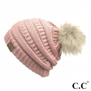 C.C Beanie Indie Pink Solid Color Ribbed Beanie With Pom