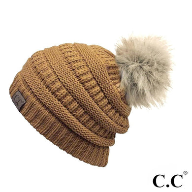 C.C Beanie Mustard Solid Color Ribbed Beanie With Pom