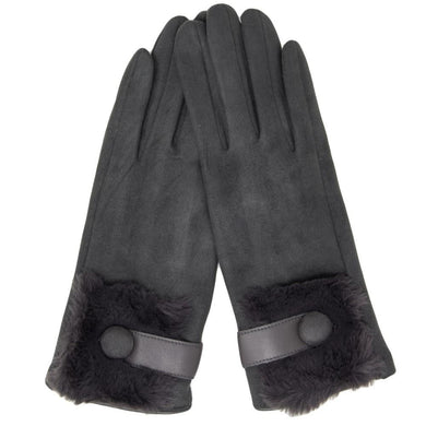 Faux Suede Fur Trim Gloves Featuring Button Cuff Detail In Gray