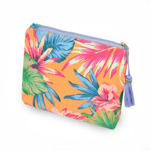 Tropical Canvas Tassel Travel Pouch