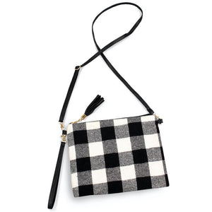 Black/White Buffalo Plaid Tassel Crossbody/Handbag