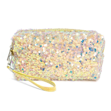 Sequin Travel Pouch with Detachable Wristlet In Gold