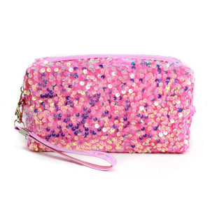Sequin Travel Pouch with Detachable Wristlet In Pink