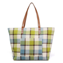 Load image into Gallery viewer, Green and Blue Plaid Canvas Tote Bag