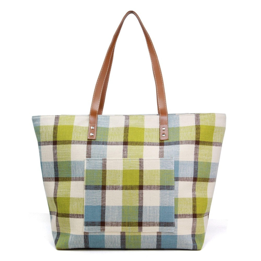 Green and Blue Plaid Canvas Tote Bag