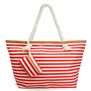 Emma Red Striped Tote Bag Featuring Matching Coin/Card Pouch