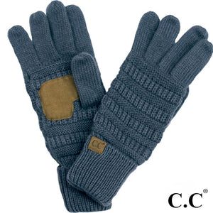 C.C. Beanie Dark Denim Ribbed Smart Touch Gloves