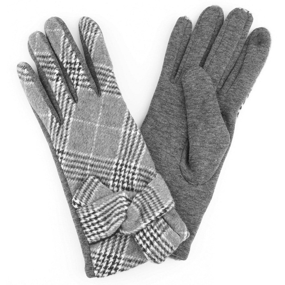Grey Knotted Plaid Smart Touch Gloves