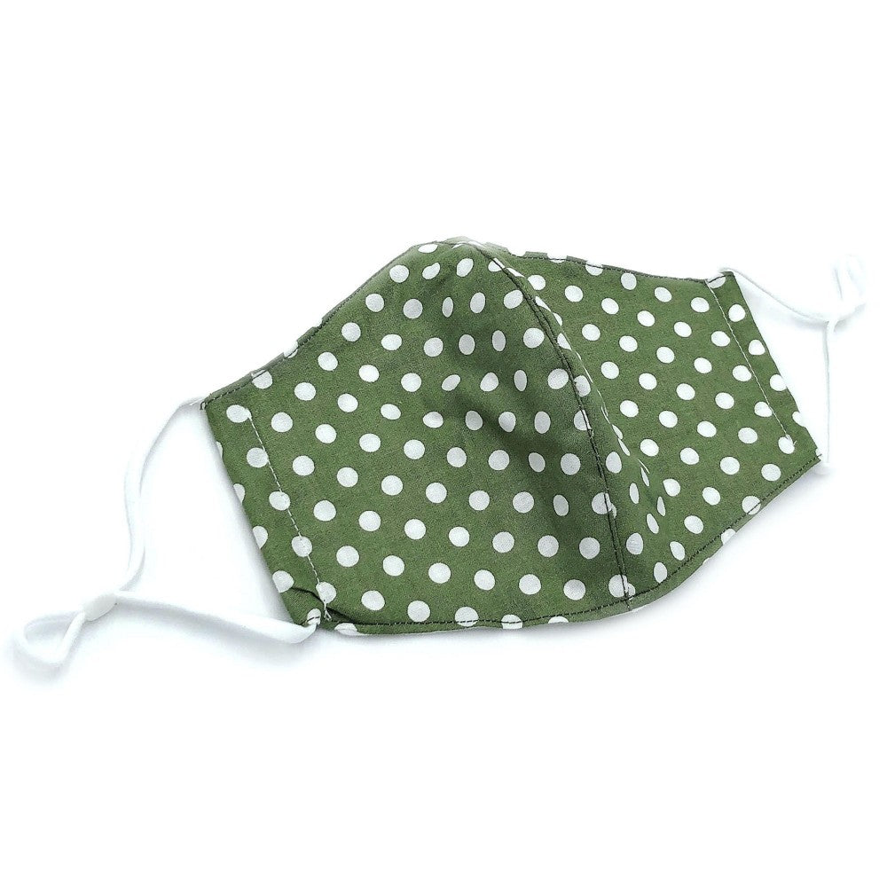 Adjustable Fashion Mask with Filter Insert- Green/White Polka Dot