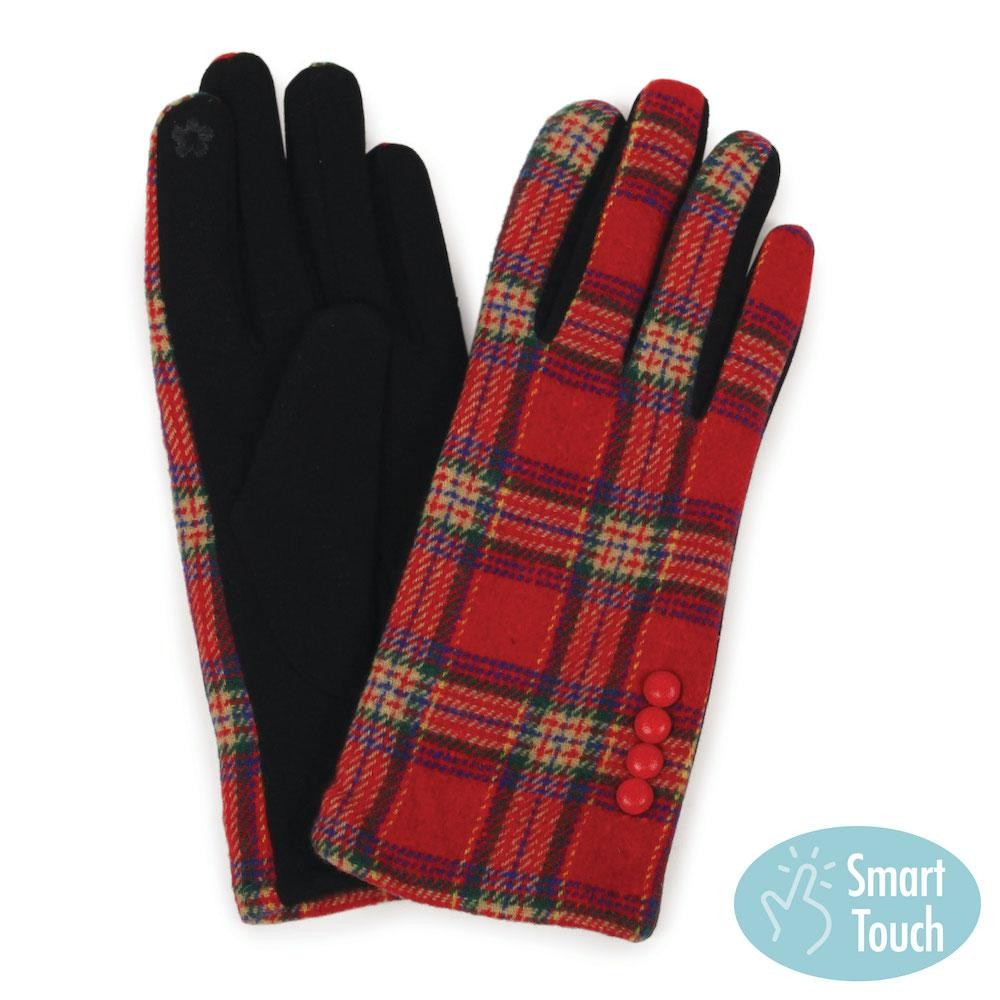 Red Tartan Plaid Smart Touch Gloves