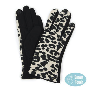 Ivory Animal Print Smart Touch Gloves