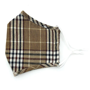 Adjustable Fashion Mask with Filter Insert-Camel Plaid