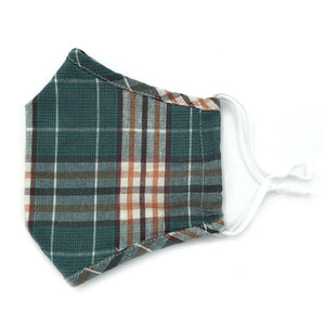 Adjustable Fashion Mask with Filter Insert-Green Plaid