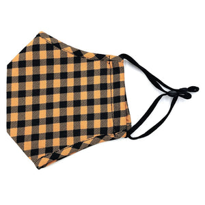 Adjustable Fashion Mask with Filter Insert-Mustard/Black Check