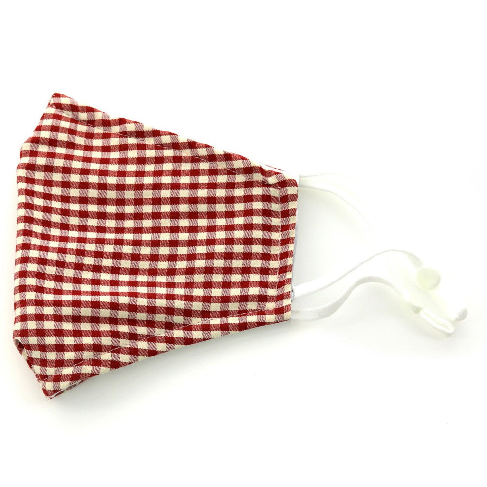 Adjustable Fashion Mask with Filter Insert- maroon Checkered