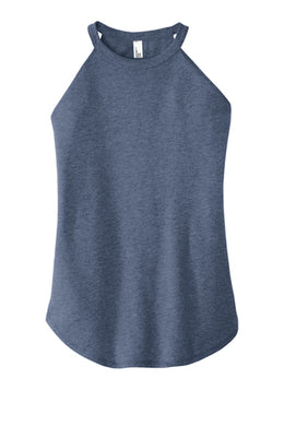 Ladies High Neck Tank In Navy Frost