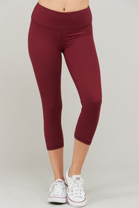 Buttery Super Soft Capri length Yoga Pants with waist Key Pocket-Burgundy