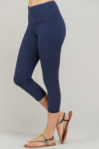 Buttery Super Soft Capri length Yoga Pants with waist Key Pocket-Navy