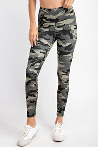 Buttery Soft Full Length Leggings in Camo Olive