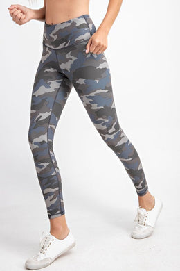 Buttery Soft Full Length Leggings in Camo Grey Blue