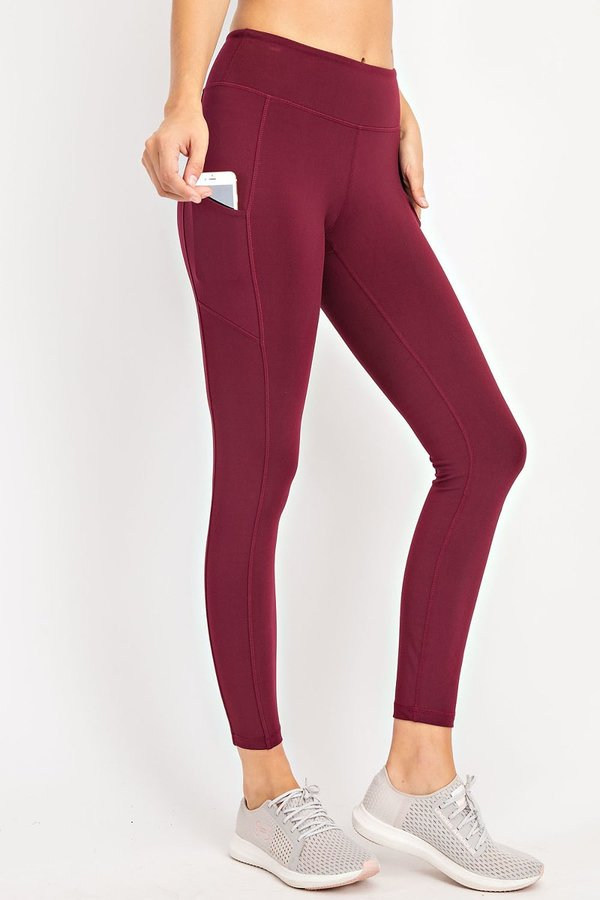 Soft Full Length Active (athletic) Leggings With Rectangle Side Pockets and a Wide Waistband-Maroon