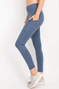 Soft Full Length Active (athletic) Leggings With Rectangle Side Pockets and a Wide Waistband-Silver Blue