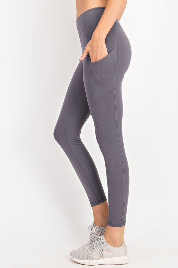 Soft Full Length Active (athletic) Leggings With Rectangle Side Pockets and a Wide Waistband-Titanium