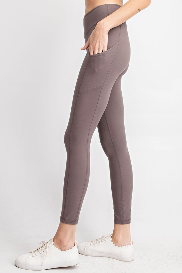 Buttery Soft Full Length Leggings In Grey With Side Pockets