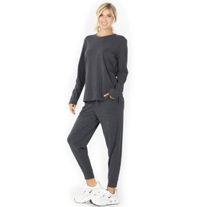 Ladies Light Weight Jogger Set In Charcoal