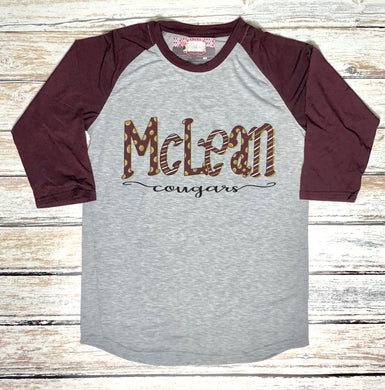 McLean Cougars Hand Drawn Spirit Raglan