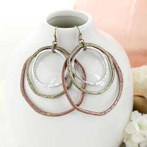 Mixed Metal Layered Loop Earrings