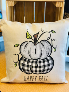 Happy Fall Black/White Plaid Pumpkin Natural Color Pillow