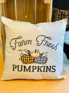 Farm Fresh Plaid Pumpkin Pillow