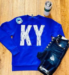 Ky Distressed Fleece Pocket Unisex Crew Sweatshirt