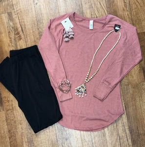 Ladies Long Sleeve Tunic Tee in 3 Color options