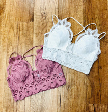 Load image into Gallery viewer, Crochet Lace Bralette With Pads In Several Colors