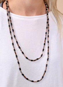 Long Glass And Wood Bead Necklace in Black