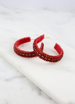 Beaded Post Hoop Red
