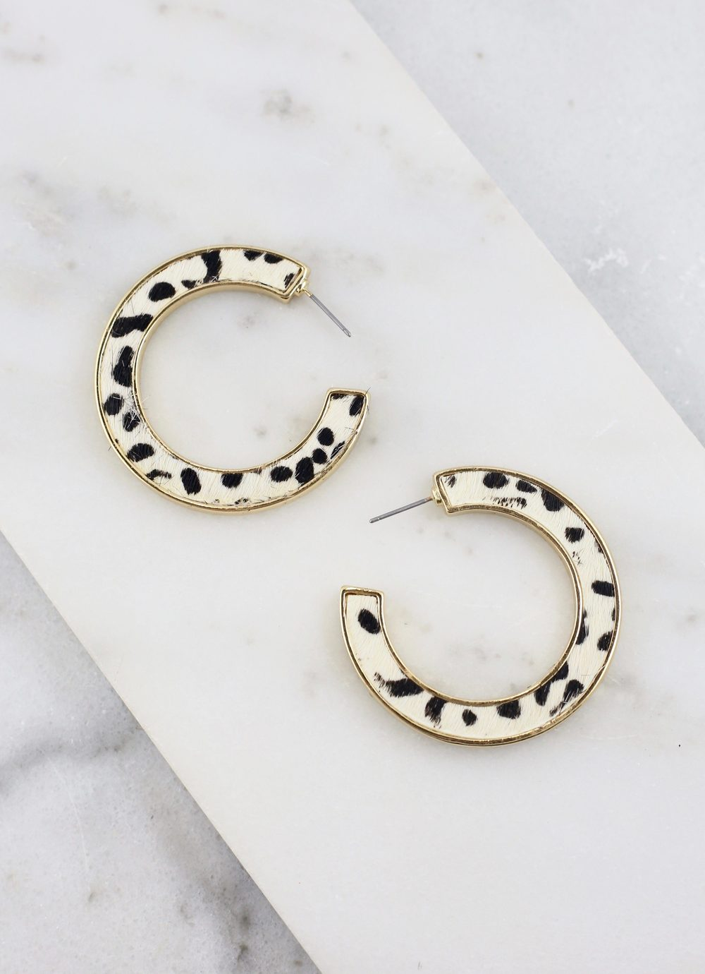 Flat Animal Print Hoop Black-White